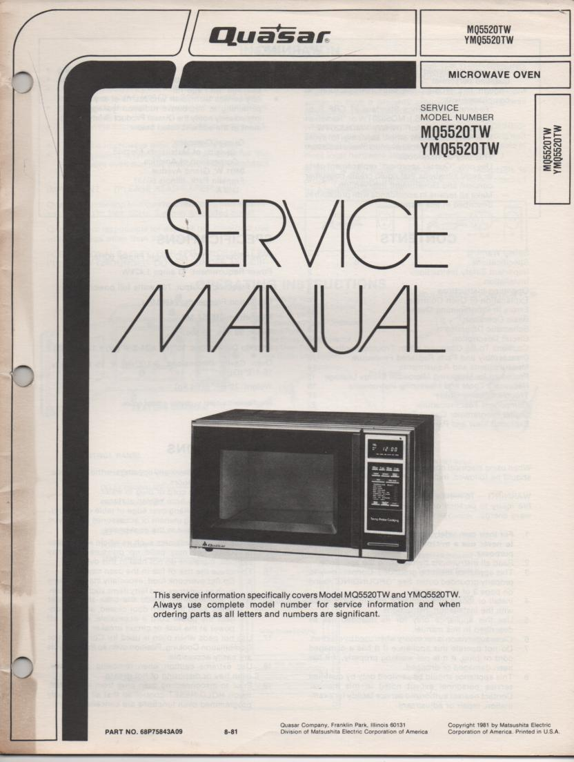 MQ5520TW YMQ5520TW Microwave Oven Service Operating Instruction Manual