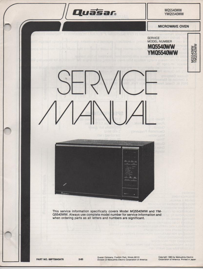 MQ5540WW YMQ5540WW Microwave Oven Service Operating Instruction Manual
