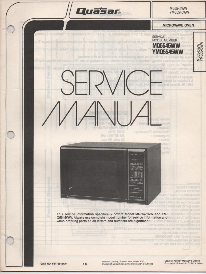 MQ5545WW YMQ5545WW Microwave Oven Service Operating Instruction Manual