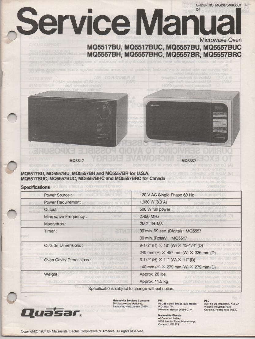MQ5557BH MQ5557BHC MQ5557BR MQ5557BRC MQ5557BU MQ5557BUC MQ5517BU Microwave Oven Service Operating Manual