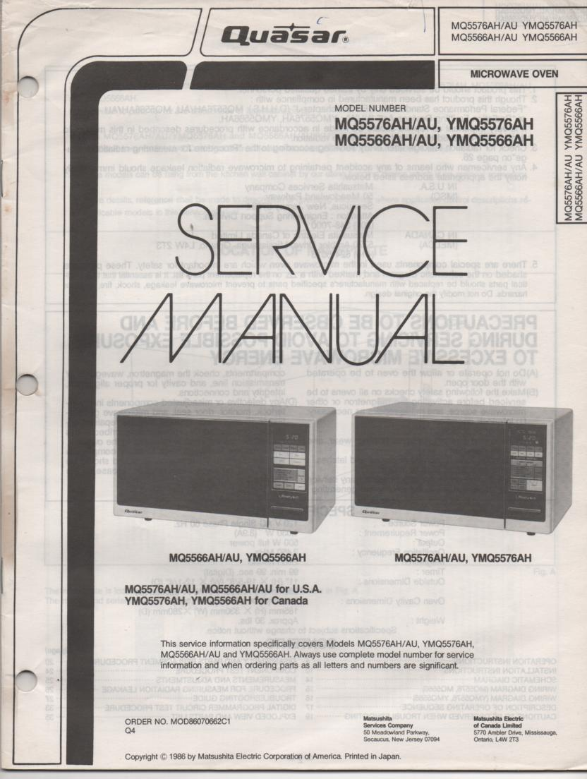 MQ5566AH MQ5566AU YMQ5566AH YMQ5576 Microwave Oven Service Operating Manual