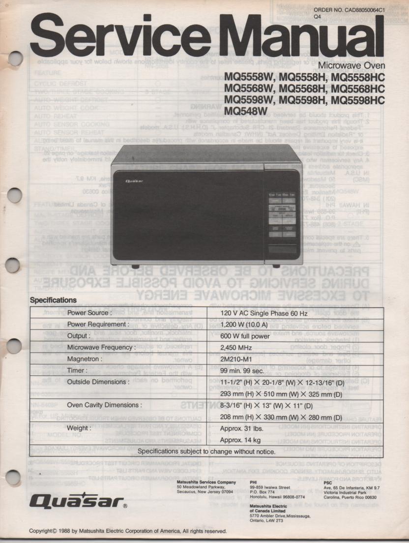MQ5598H MQ5598HC MQ5598W MQ548W Microwave Oven Service Operating Manual