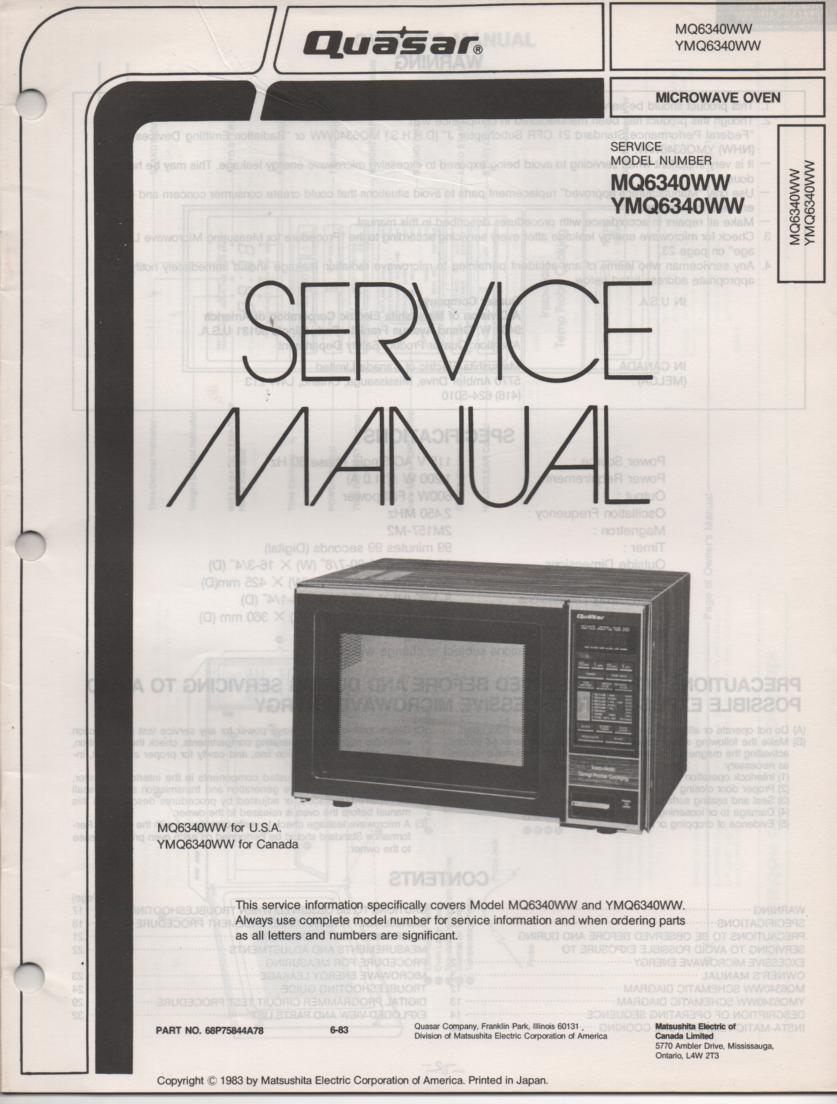 MQ6340WW YMQ6340WW Microwave Oven Operating Instruction and Service Manual