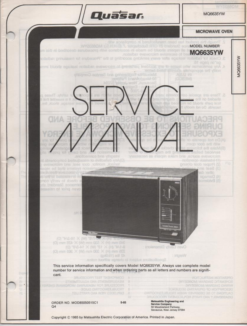 MQ6635YW Microwave Oven Operating Service Instruction Manual