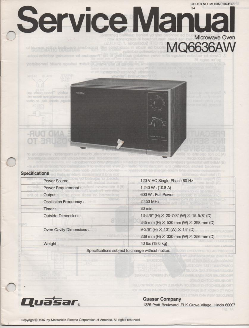 MQ6636AW Microwave Oven Service Instruction Manual