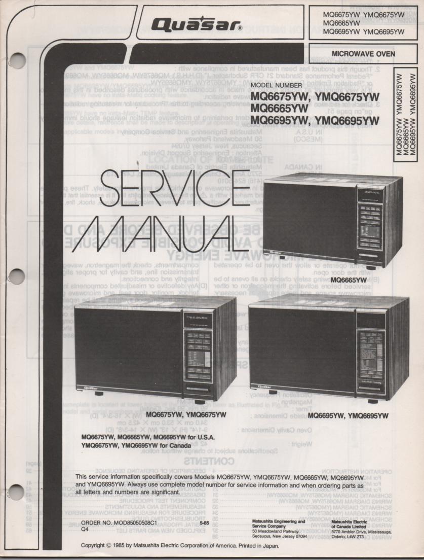 MQ6675YW YMQ6675YW MQ6665YW Microwave Oven Operating Service Instruction Manual