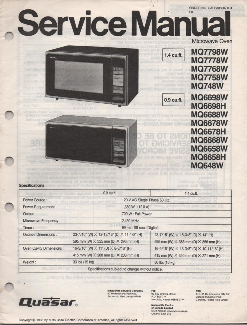 MQ6688W MQ648W Microwave Oven Operating Service Instruction Manual