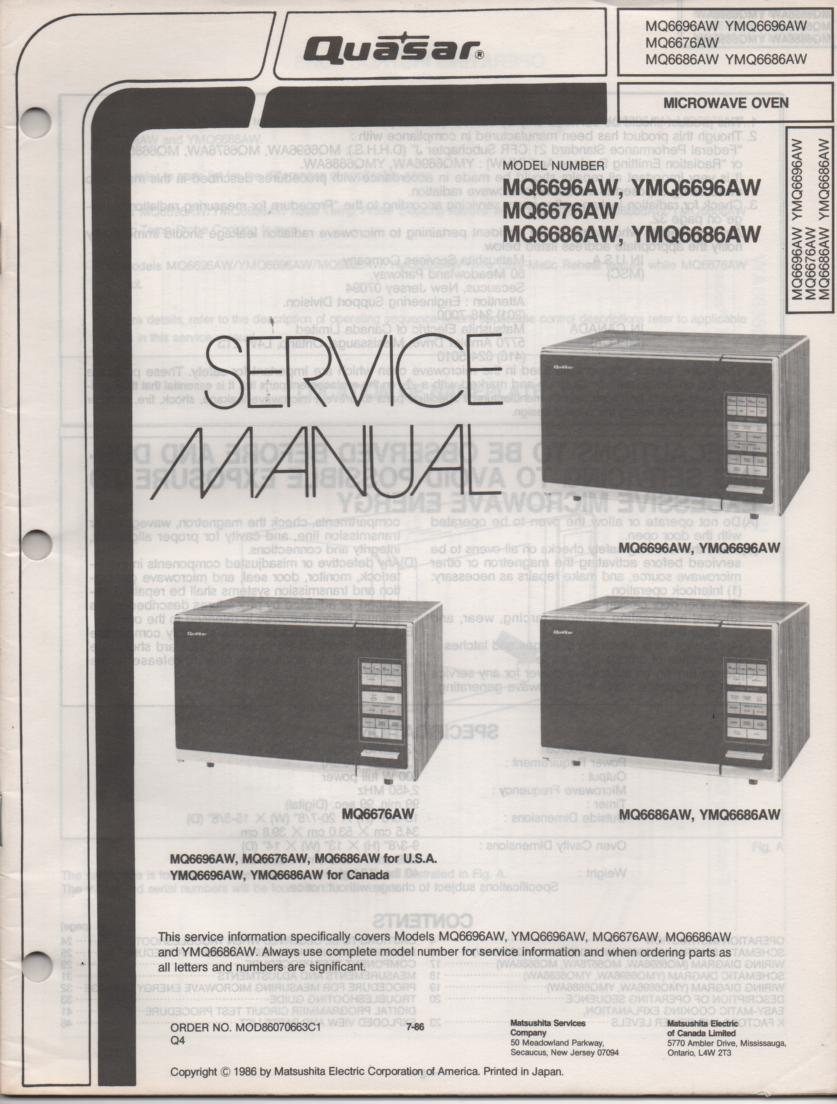MQ6696AW YMQ6696AW MQ6676AW Microwave Oven Operating Service Instruction Manual