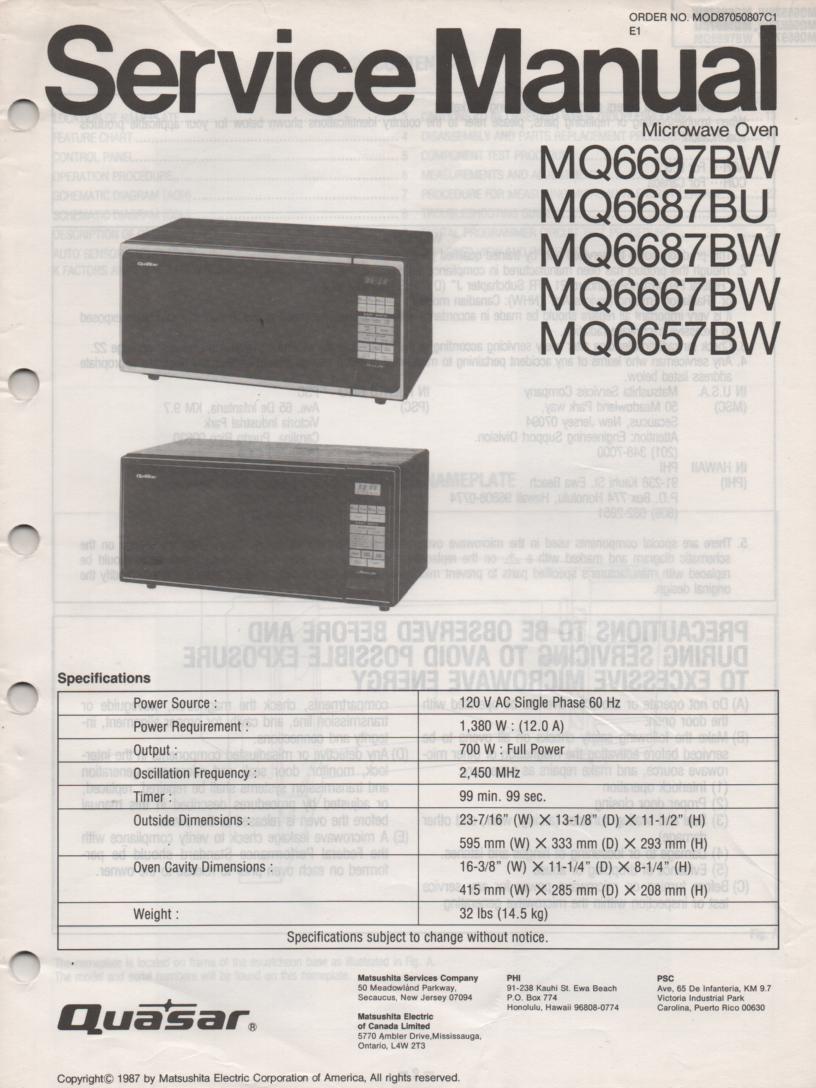 MQ6697BW MQ6657BW Microwave Oven Operating Service Instruction Manual