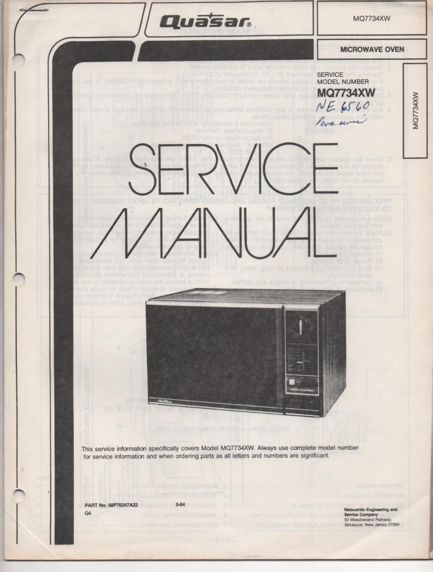 MQ7734XW Microwave Oven Operating Service Instruction Manual