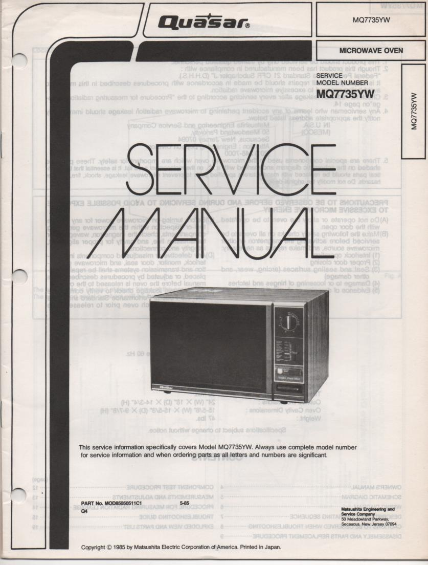 MQ7735YW Microwave Oven Operating Service Instruction Manual