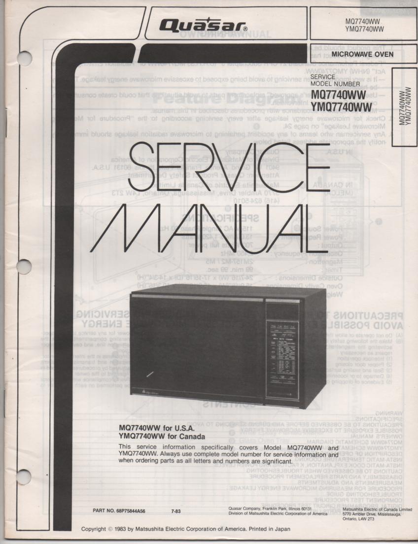 MQ7740WW YMQ7740WW Microwave Oven Operating Service Instruction Manual