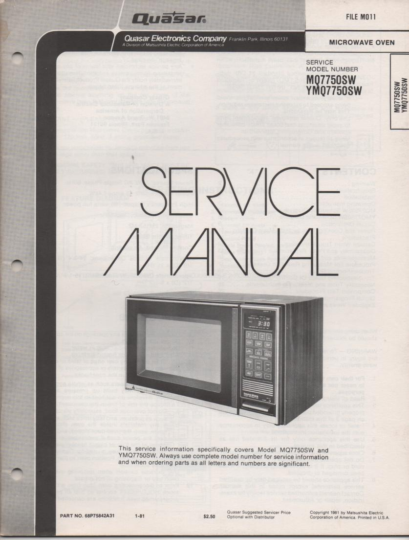 MQ7750SW YMQ7750SW Microwave Oven Operating Service Instruction Manual