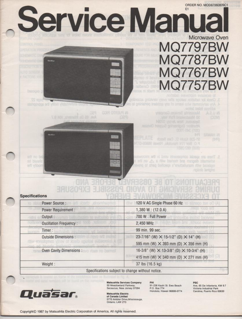 MQ7757BW Microwave Oven Operating Service Instruction Manual