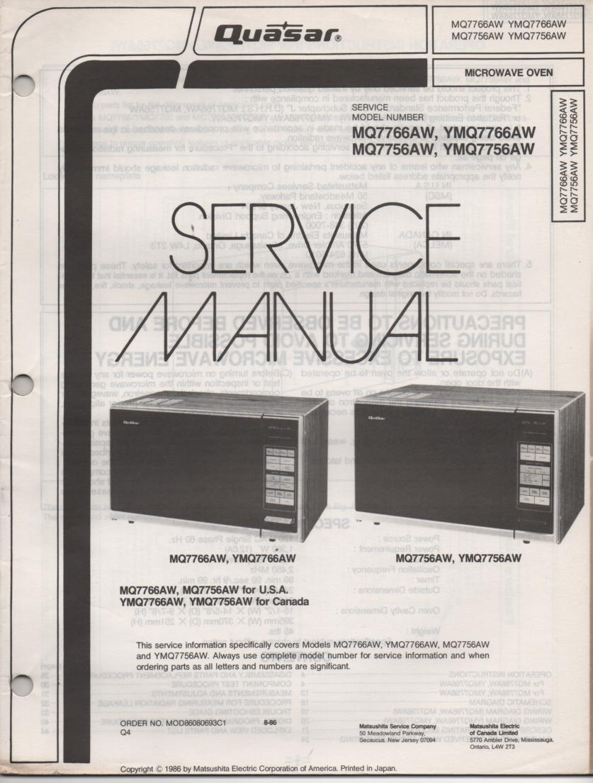 MQ7766AW YMQ7766AW MQ7756AW YMQ7756AW Microwave Oven Service Operating Instruction Manual