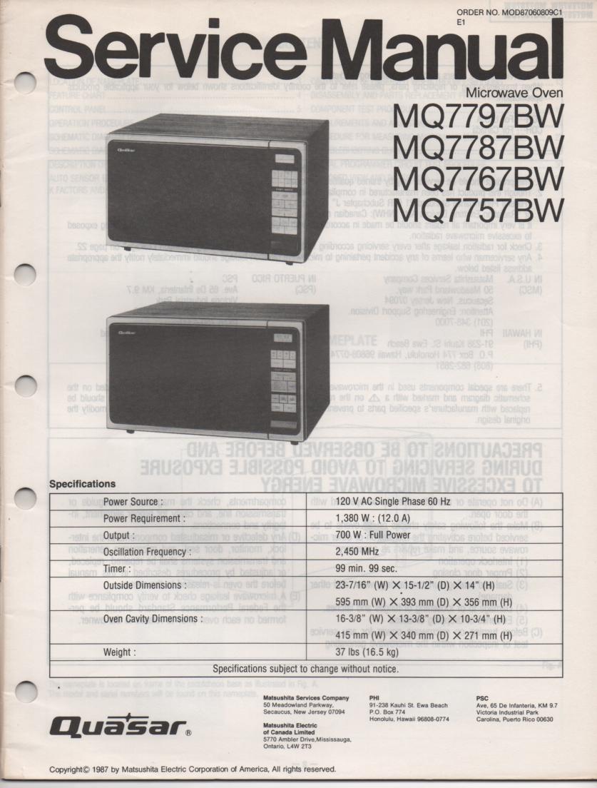 MQ7787BW MQ7757BW Microwave Oven Operating Service Instruction Manual