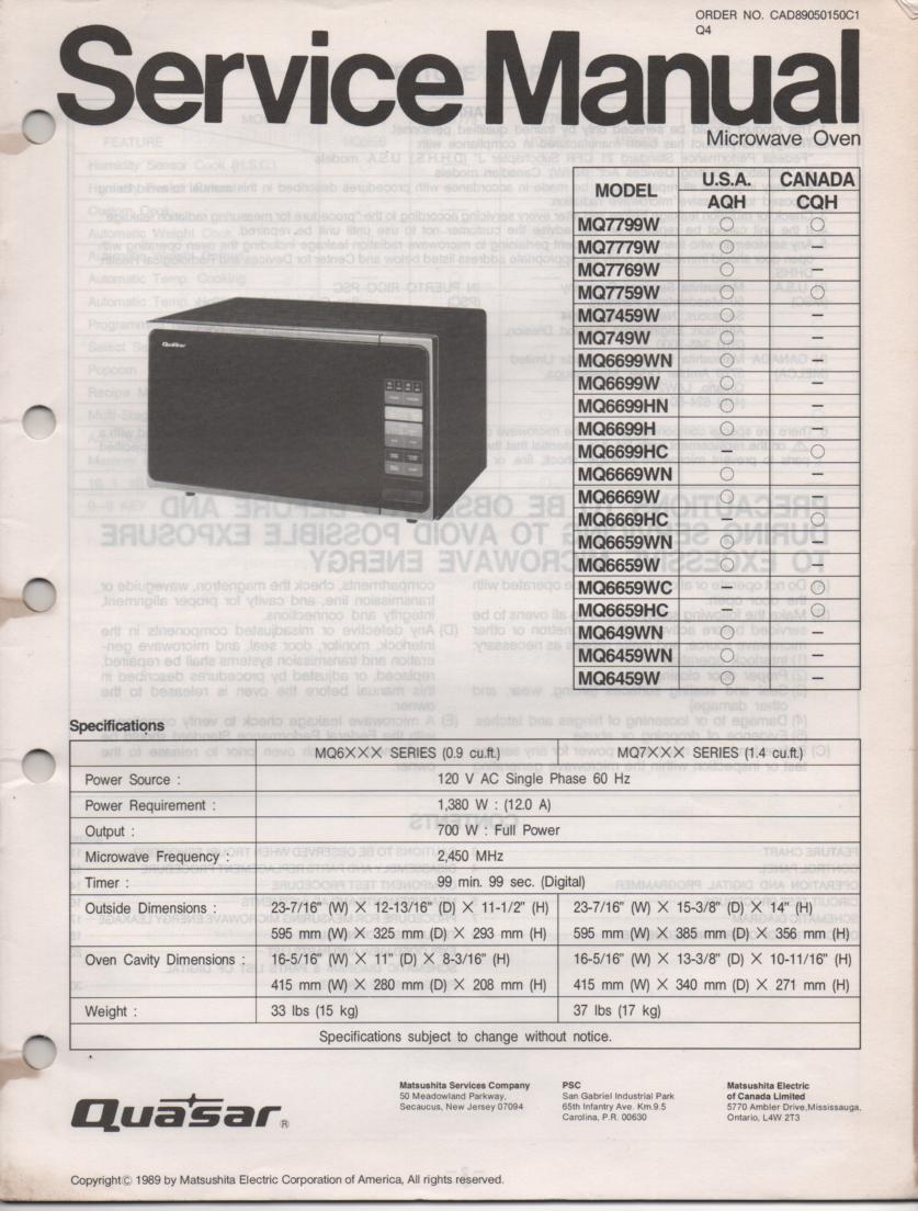 MQ7799W MQ649WN Microwave Oven Service Operating Instruction Manual