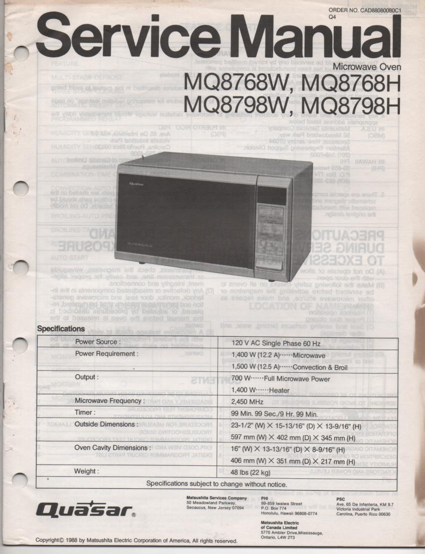 MQ8768H MQ8768W MQ8598H MQ8598W Microwave Oven Operating Service Instruction Manual