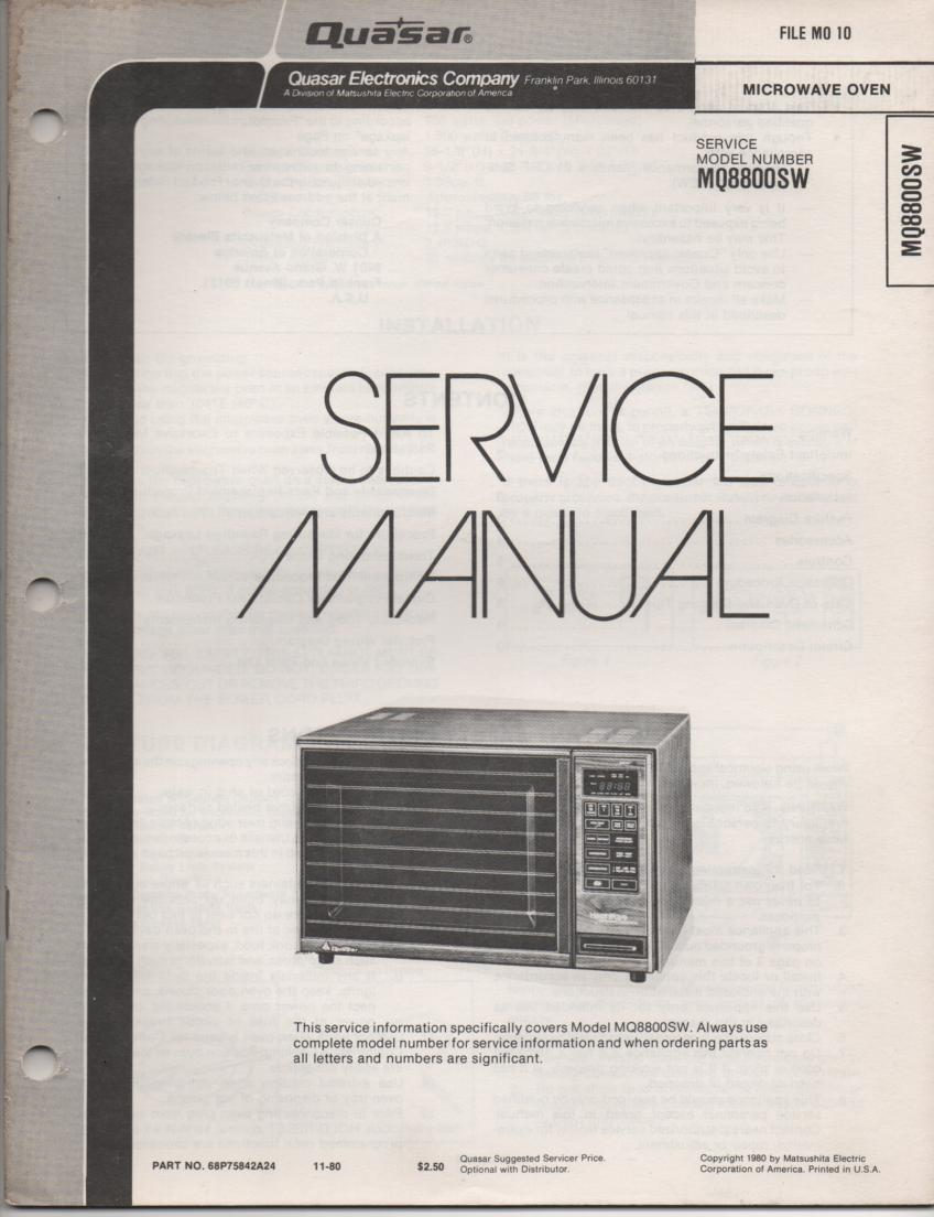 MQ8800SW Microwave Oven Operating Service Manual