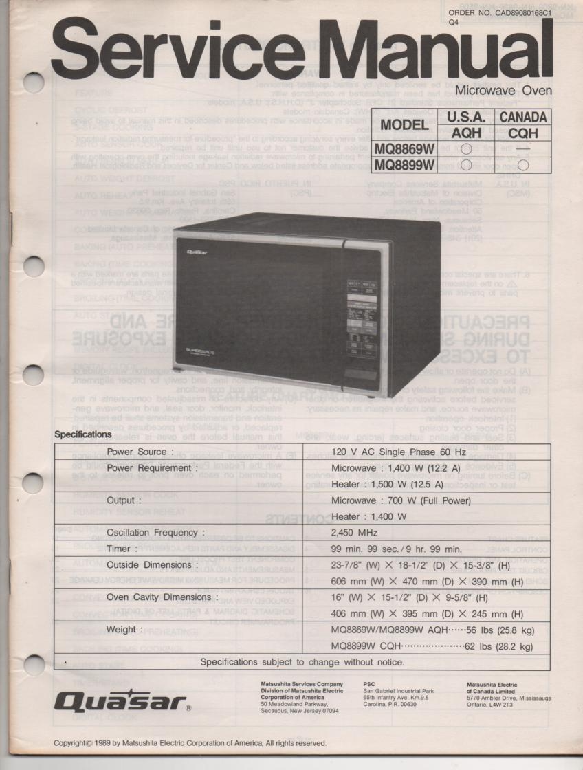 MQ8869W MQ8899W Microwave Oven Operating Service Manual