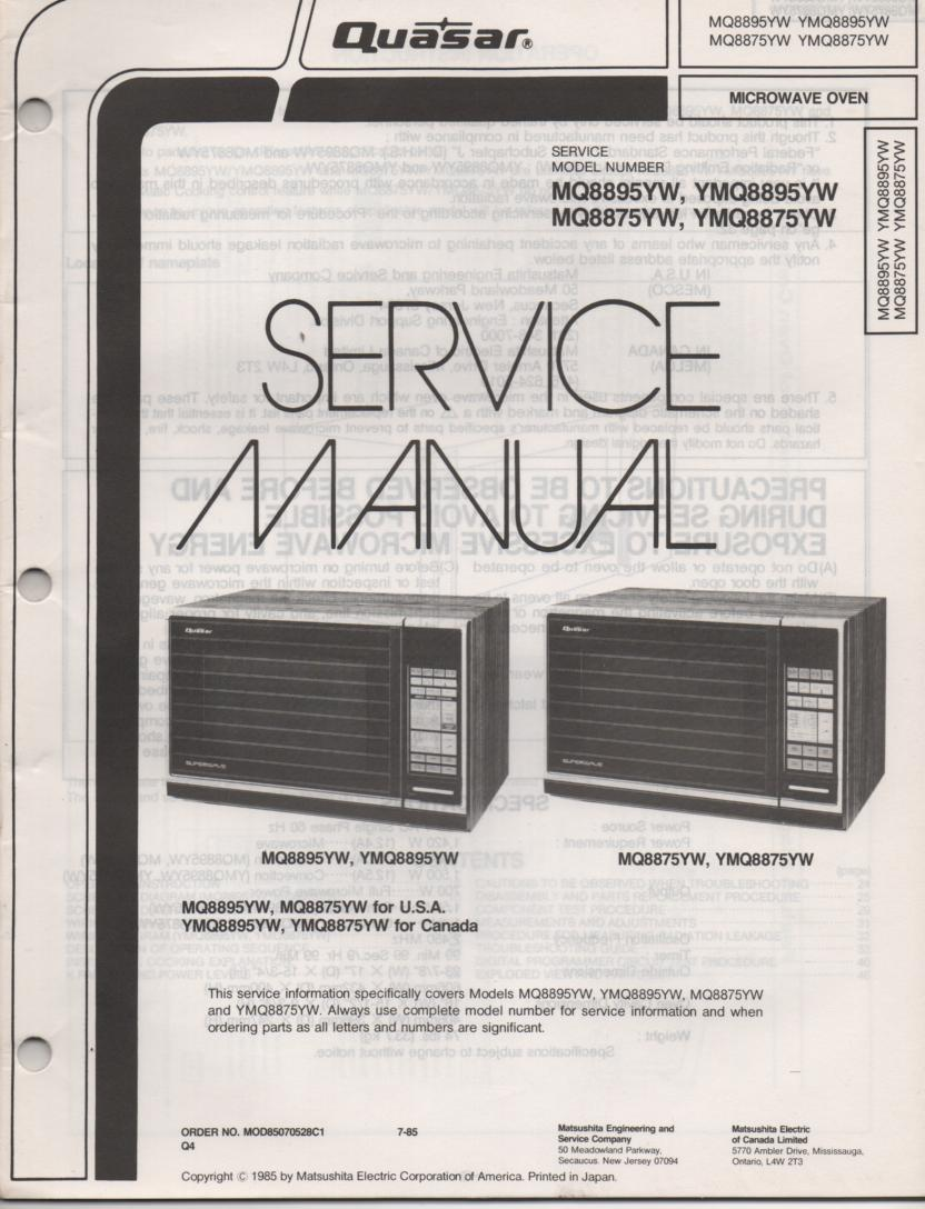 MQ8895YW MQ8875YW Microwave Oven Service Operating Instruction Manual