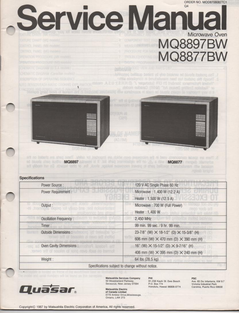 MQ8897BW MQ8877BW Microwave Oven Operating Service Instruction Manual