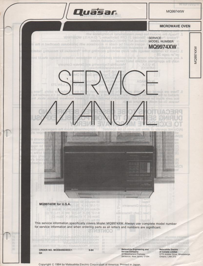 MQ9974XW Microwave Oven Service Operating Instruction Manual