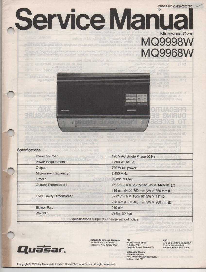 MQ9998W YMQ9968W Microwave Oven Operating Service Instruction Manual
