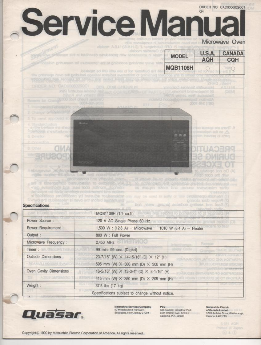 MQB1106H Microwave Oven Service Operating Instruction Manual
