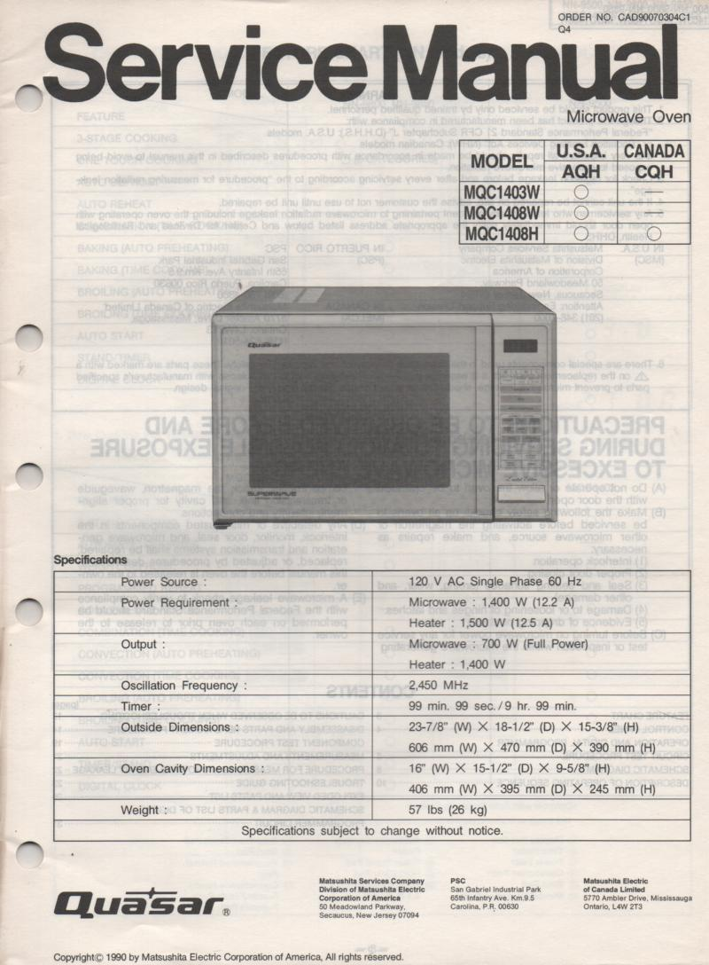 MQC1403W MQC1408H MQC1408W Microwave Oven Service Operating Instruction Manual