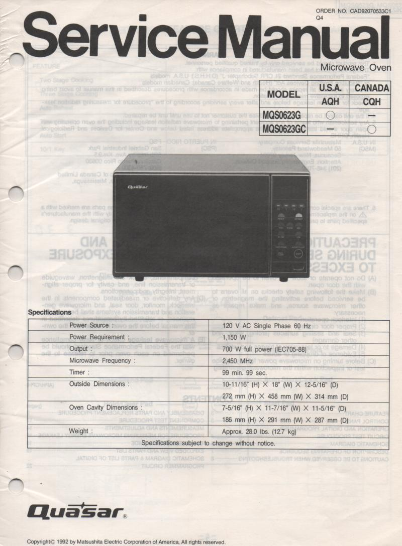 MQS0623G MQ0623GC Microwave Oven Service Operating Manual