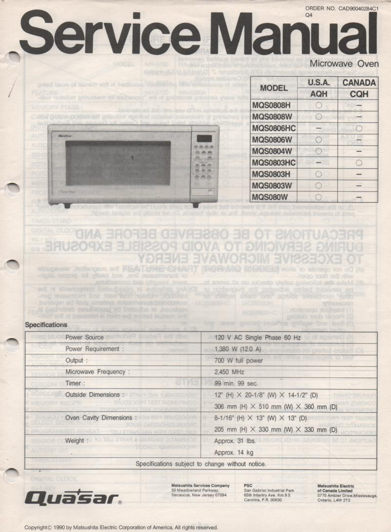 MQS0808H MQS0808W MQS080W Microwave Oven Service Operating Instruction Manual