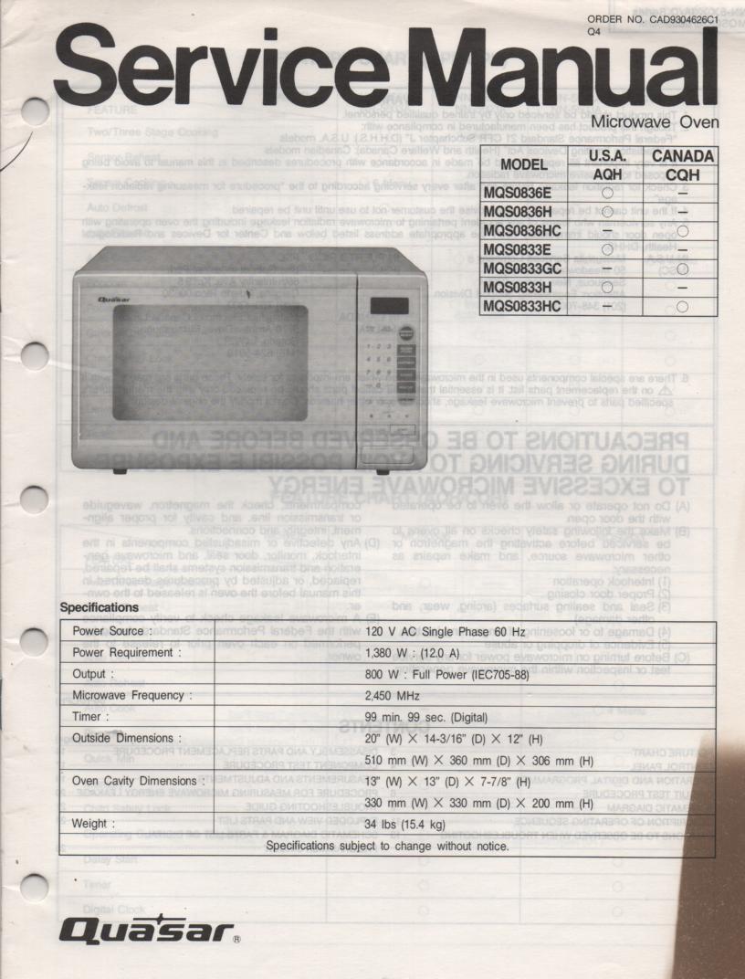 MQS0836E MQS0836H MQS0836HC MQS0833HC Microwave Oven Service Operating Instruction Manual