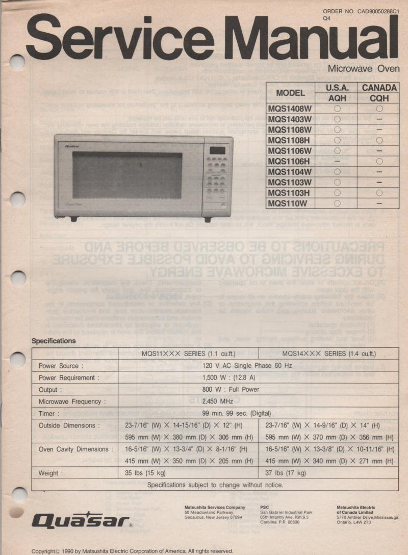 MQS1103H MQS1103W MQS110W Microwave Oven Service Operating Instruction Manual