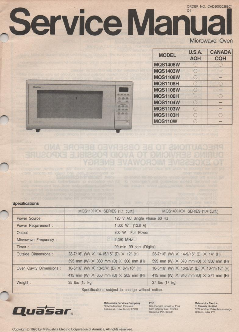 MQS1104W MQS110W Microwave Oven Service Operating Instruction Manual