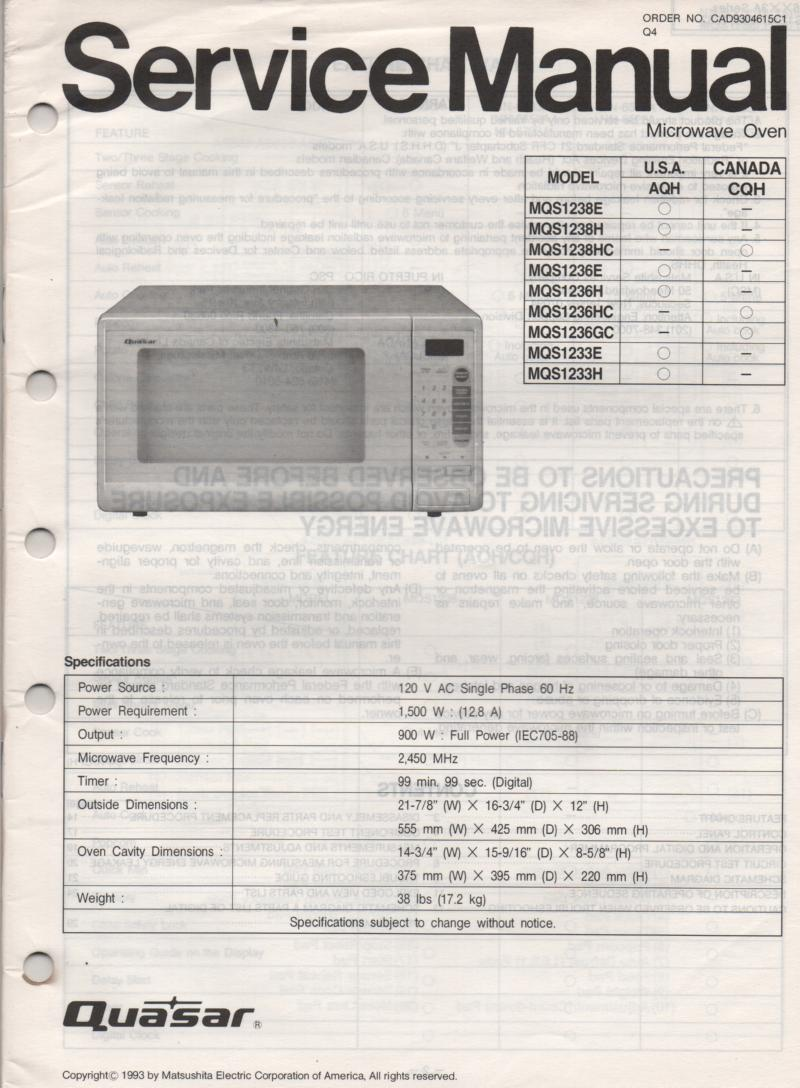 MQS1238E MQS1238H MQS1238HC MQS1233E Microwave Oven Service Operating Instruction Manual