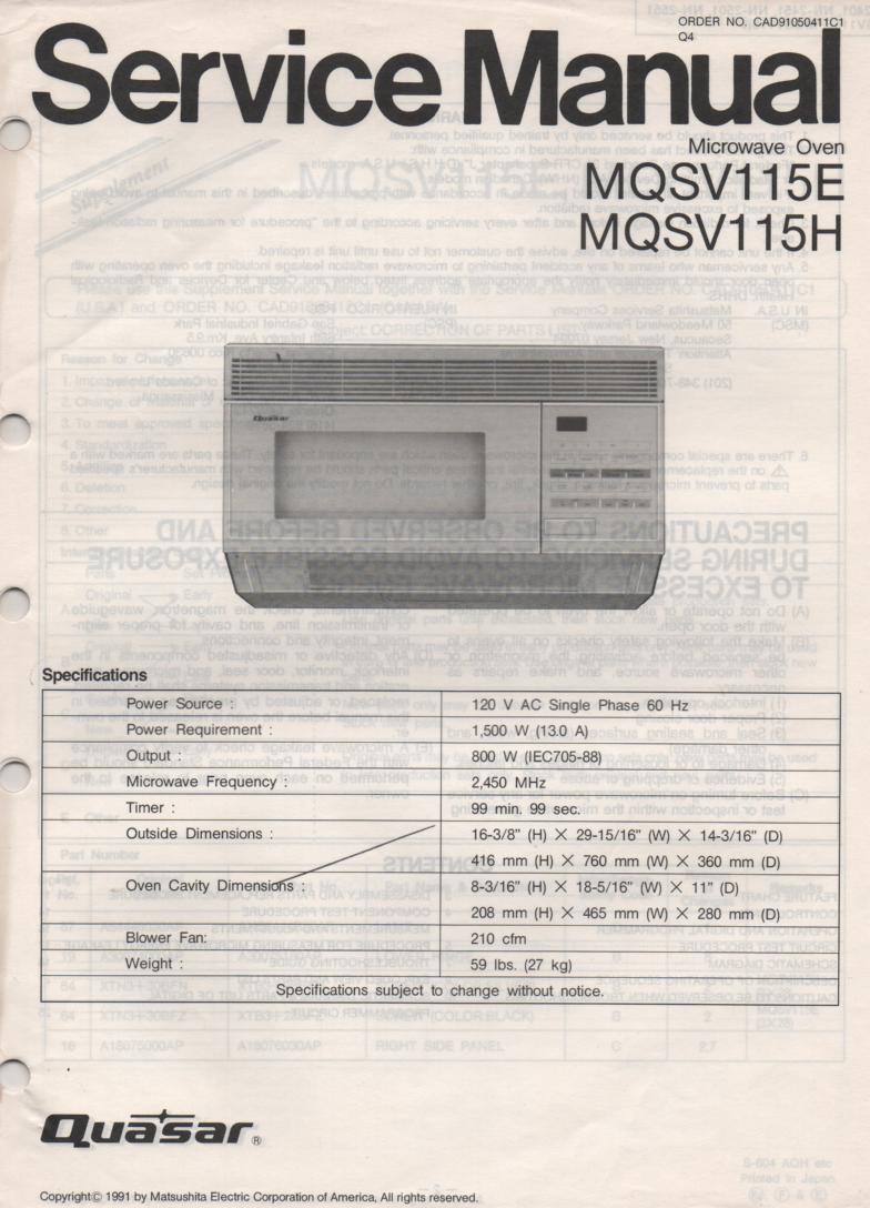 MQSV115E MQSV115H Microwave Oven Service Operating Instruction Manual