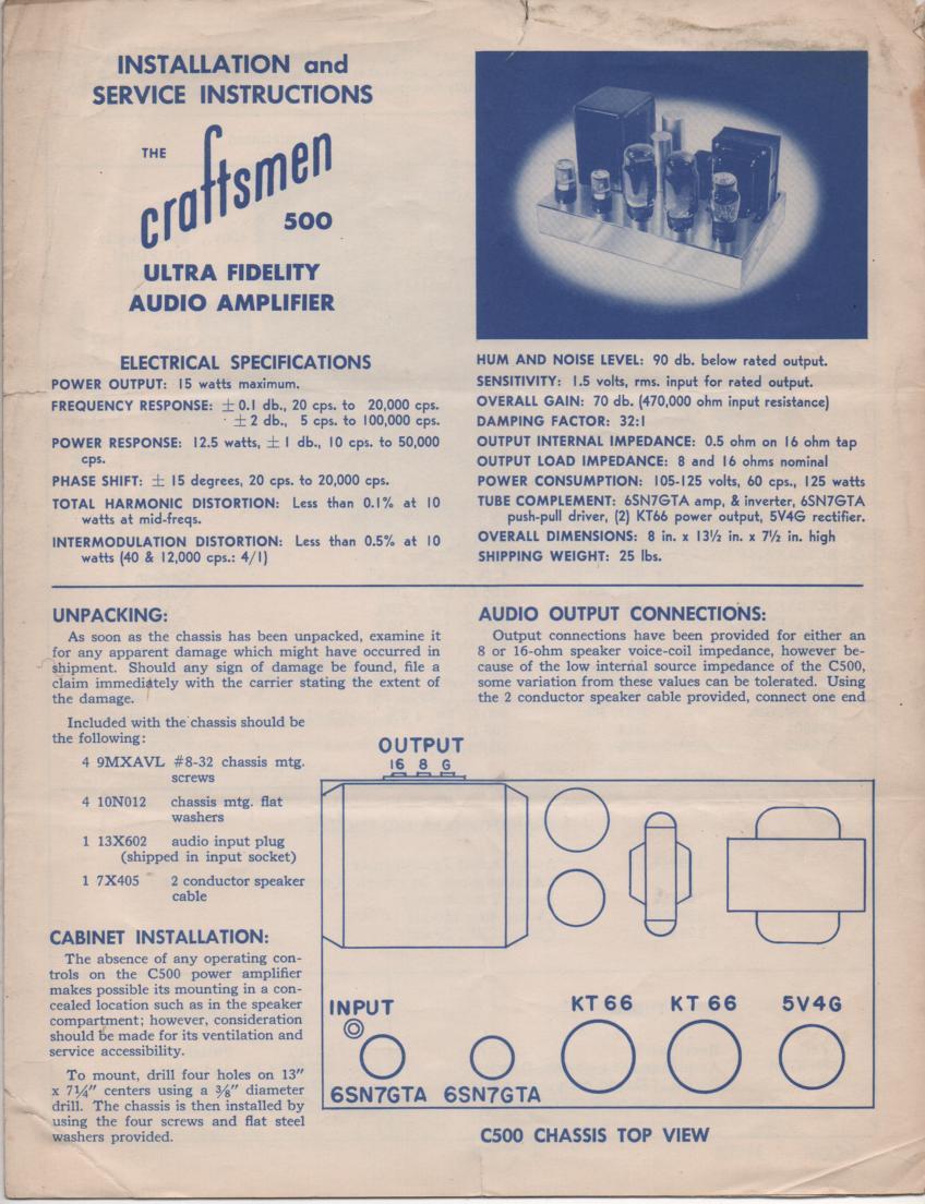 500  Amplifier Service Manual