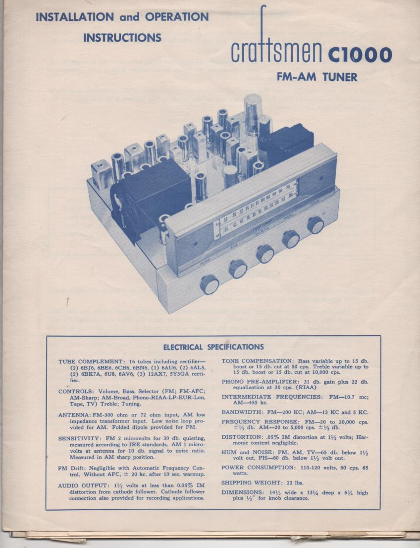 C1000 AM FM Tuner Operators Manual