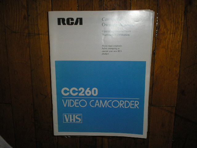 CC260 VHS Camcorder Operating Instruction Manual