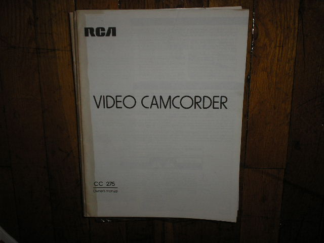 CC275 VHS Camcorder Operating Instruction Manual