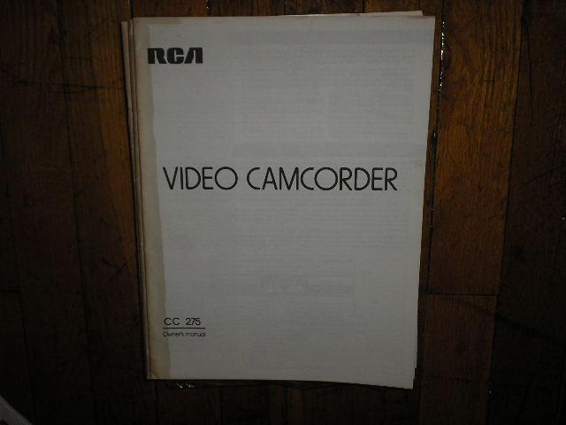 CC275 VHS Camcorder Operating Instruction Manual