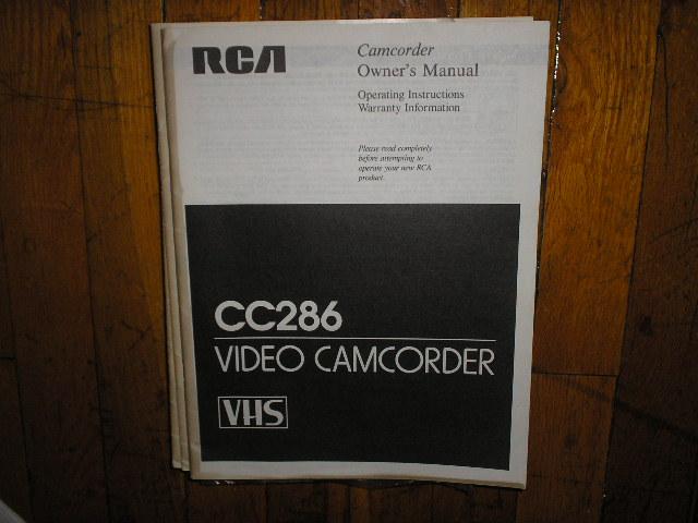 CC286 VHS Camcorder Operating Instruction Manual