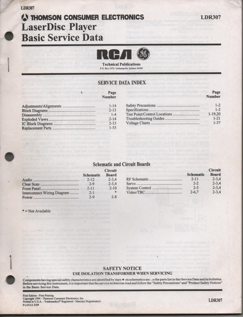 LDR307 Laser Disc Service Schematics Manual 2
