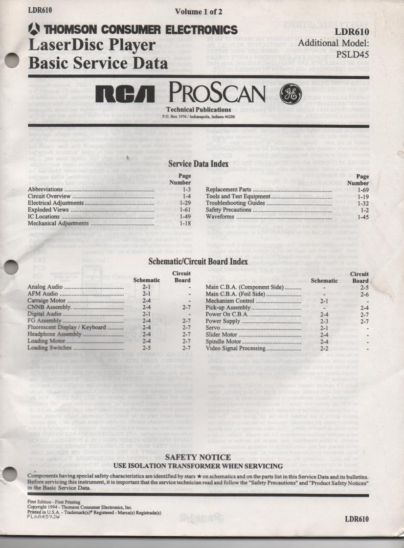 LDR610 Laser Disc Service Schematics Manual