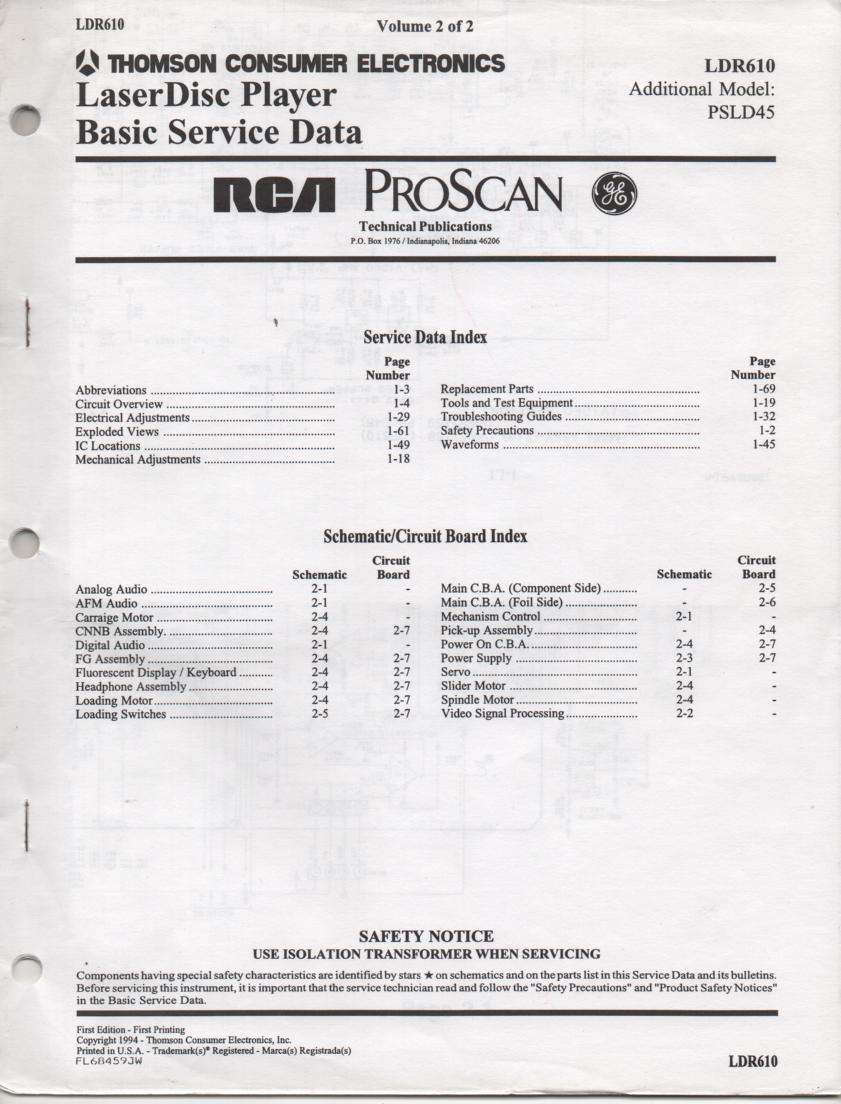 LDR610 Laser Disc Service Schematics Manual 2