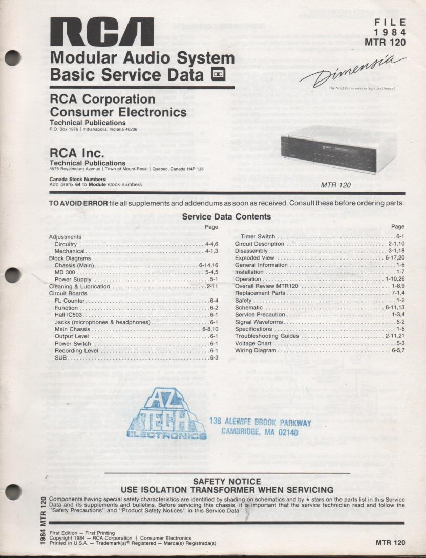 MTR120 Modular Stereo System Service Manual