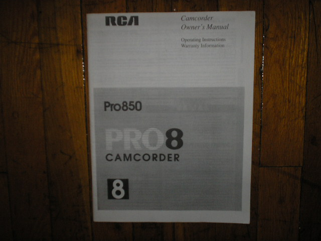 PRO850 PRO 850 Camcorder Operating Instruction Manual
