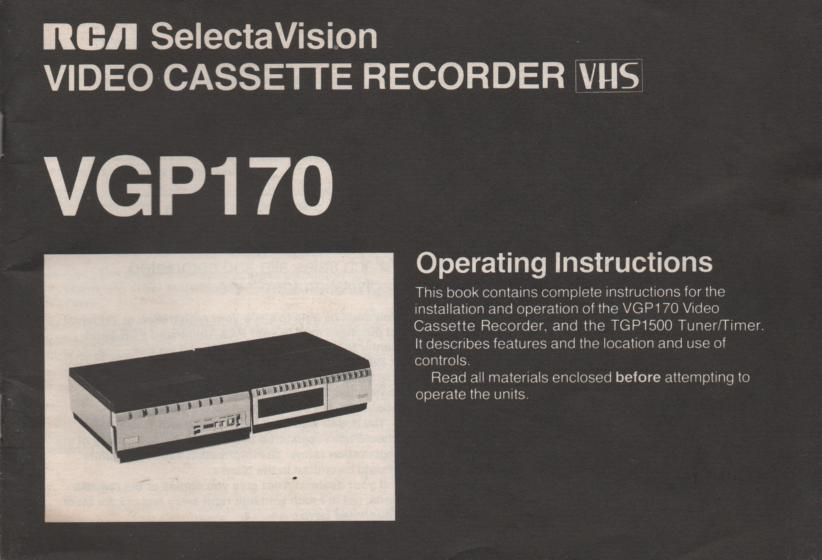 VGP170 VHS VCR Operating Instruction Manual