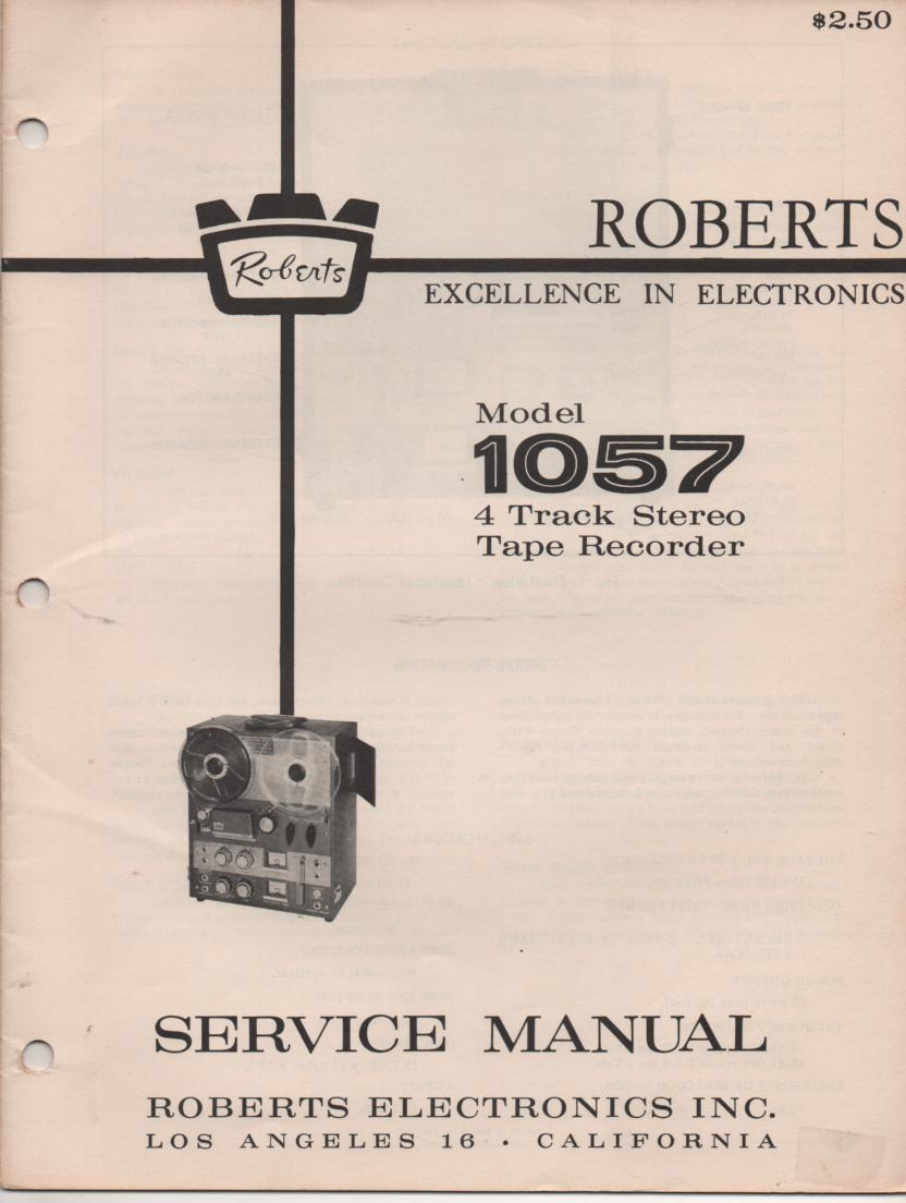 1057 4 Track Reel to Reel Service Manual
